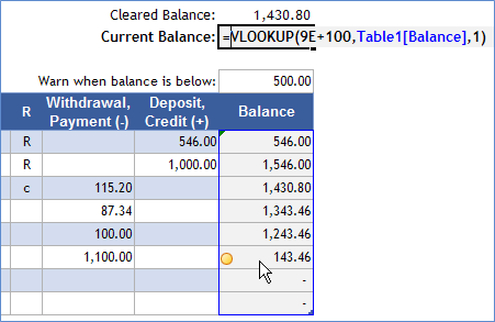 Return the Last Numeric Value in a Column - VLOOKUP