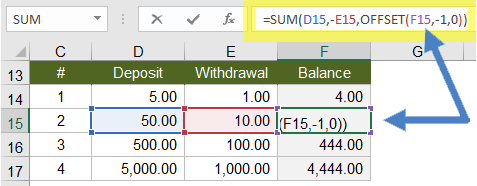 Running Balance in Excel using the OFFSET Function
