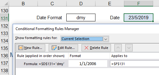 Changing Date Formats using Conditional Formatting