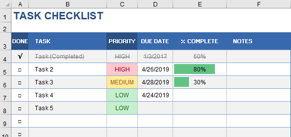 Conditional Formatting - Task Checklist Example