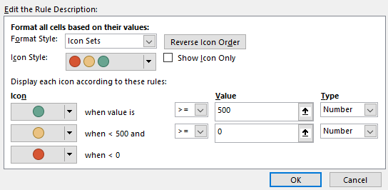 Icon Sets - Account Balance Example Settings