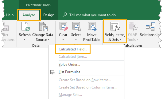 Add a Calculated Field to a Pivot Table