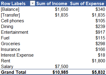 Pivot Table with Income and Expense by Category