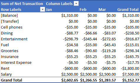 Pivot Table with Net Transaction by Category and Month