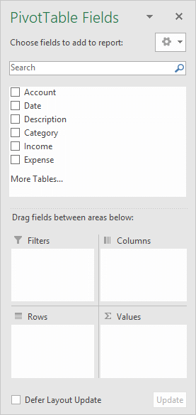 PivotTable Fields List