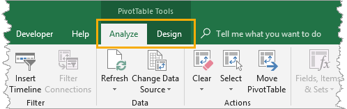 PivotTable - Tools, Analyze and Design Tabs