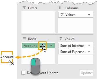 Remove a Field from the Pivot Table