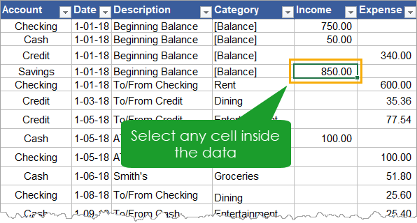 Select any Cell Inside the Data