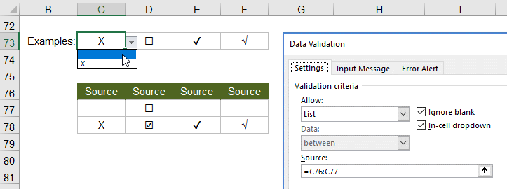 Checkbox Style Drop Down in Excel