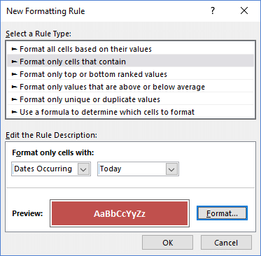 Conditional Formatting Rule for TODAY