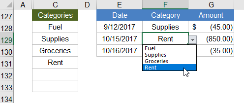 Example Drop Down List using a Dynamic Named Range