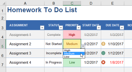 Example Drop-Down List via Data Validation
