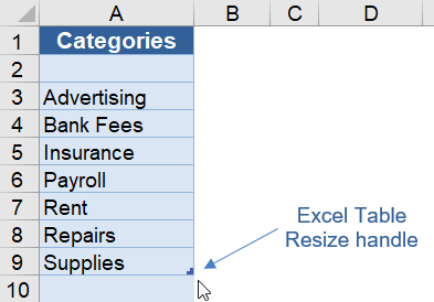 Excel Table Resize Handle