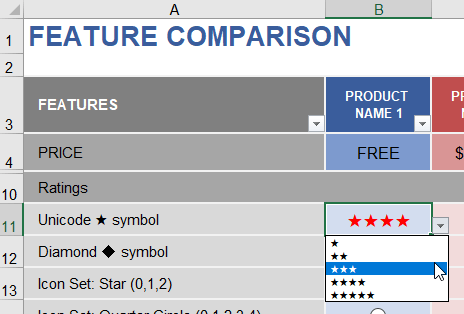Star Rating Example Using a Drop Down Menu