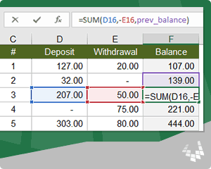 Create a Running Balance in Excel