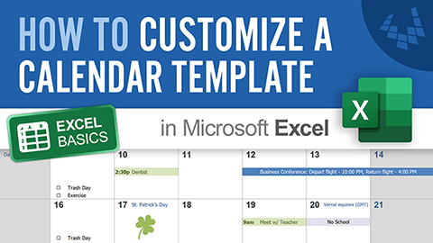 Learn how to create a calendar in Excel by customizing a calendar template from Vertex42.com.