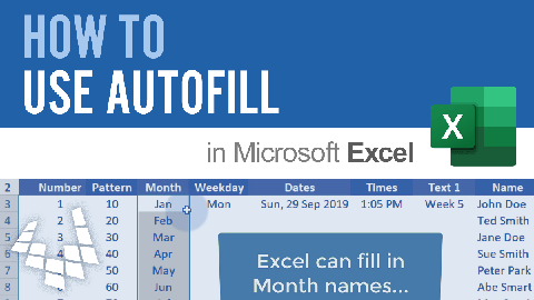 Learn how to use AutoFill to quickly fill a series of numbers, dates, month names, etc.