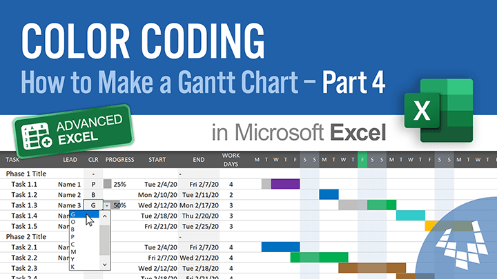 Color Coding (How to Make a Gantt Chart in Excel - Part 4)