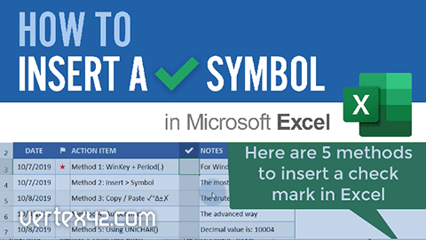 Learn how to Insert a Check Mark Symbol in Excel