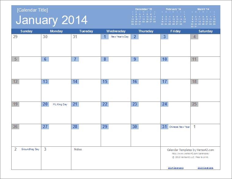 2014 Calendar Template