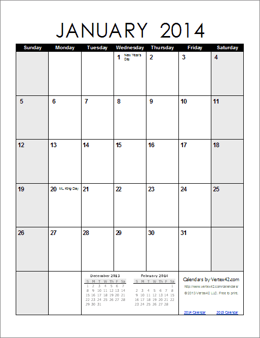Blank Calendar 2014 Printable 2014 calendar - portrait