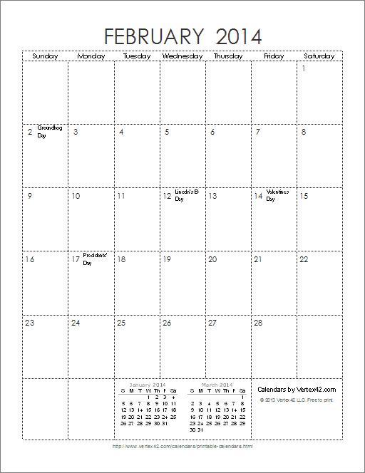 Ink Saver 2014 Calendar - Portrait