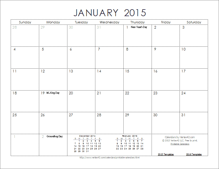 カレンダー カレンダー 2015 a3 : Free Printable 2015 Monthly Calendar Template 4 X 5