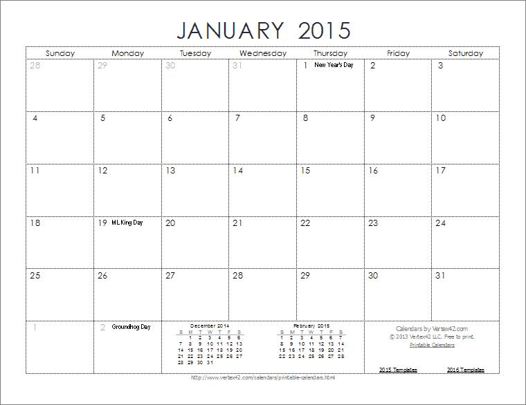 2015 calendars free