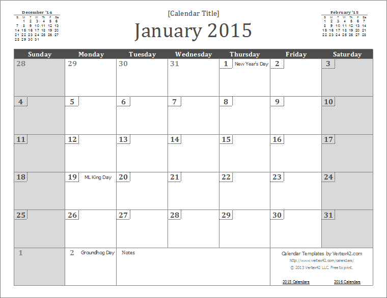 Monthly Calendar Template 2015 | downloadtarget