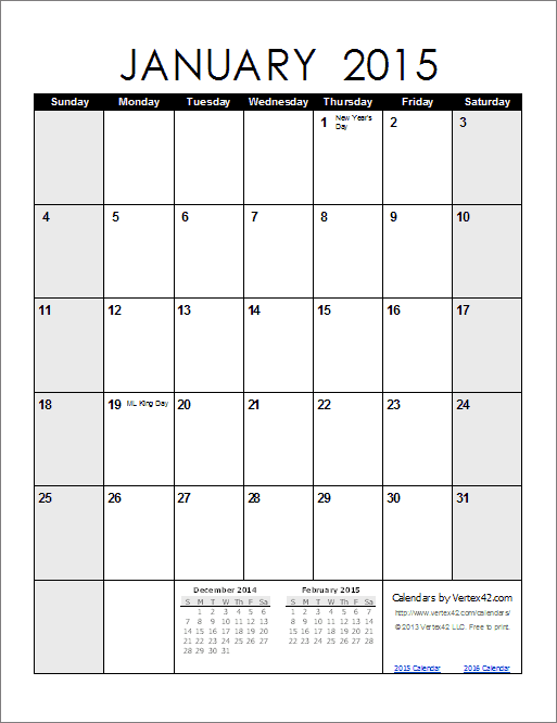 2015 Monthly Calendar | Search Results | Calendar 2015