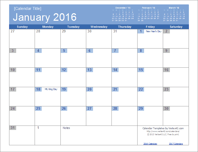 Free Monthly Holiday Calendar Templates | Search Results | 2016 ...
