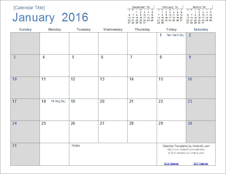2016 calendar template screenshot