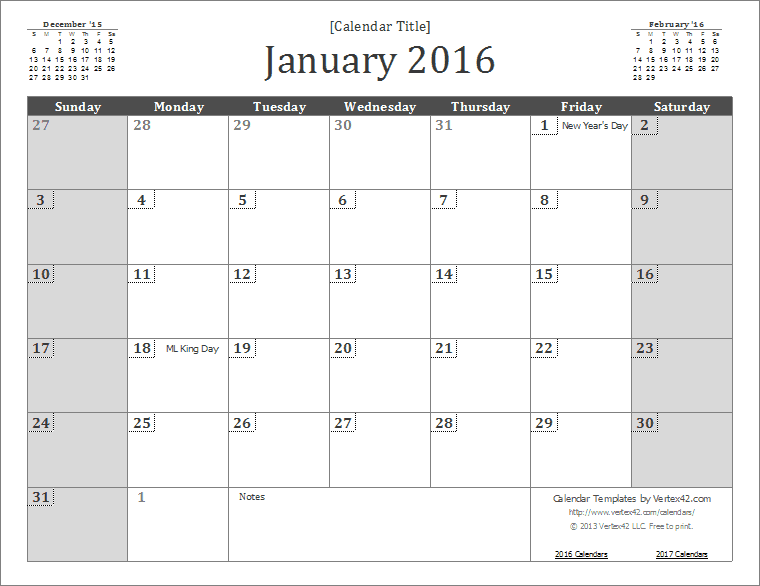 2016 Calendar Templates and Images – Calendar Templates in Word