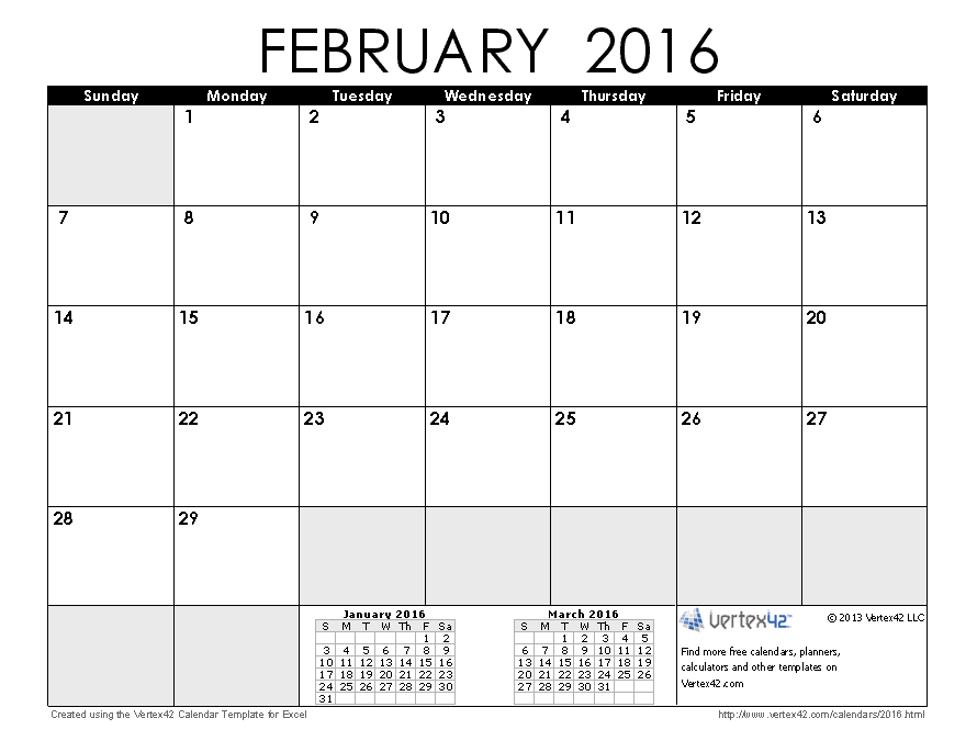 February Calendar Template 2015 Yolarnetonic