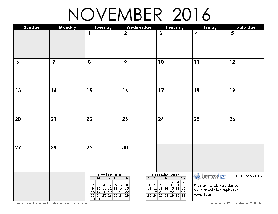 November Calendar 2016 : Calendar templates and images
