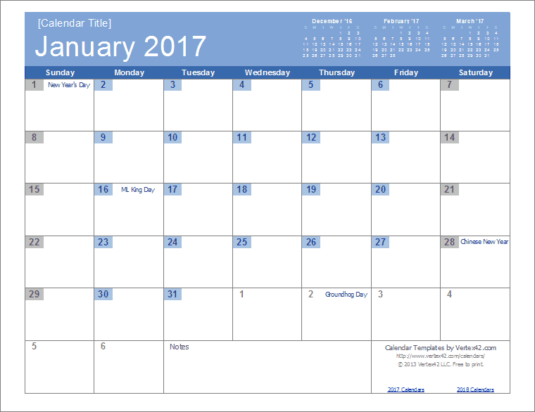 2017 Calendar Templates and Images – Printable Calendars Sample