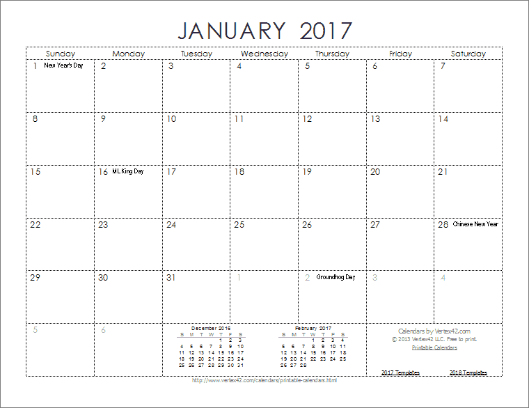 Monthly Ink Saver Calendar
