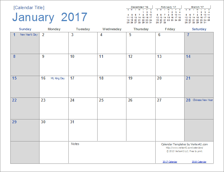 2017 Calendar Template Screenshot  Monthly Calendar Word Template