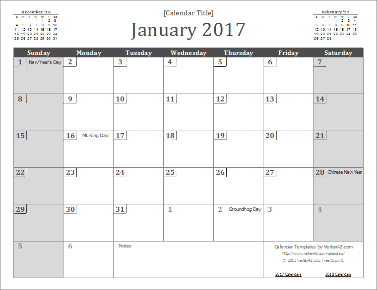 2017 wall calendar template screenshot