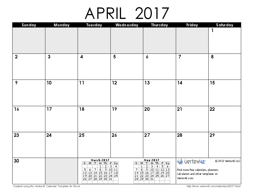 Calendar Month Of April : Free printable calendar monthly calendars