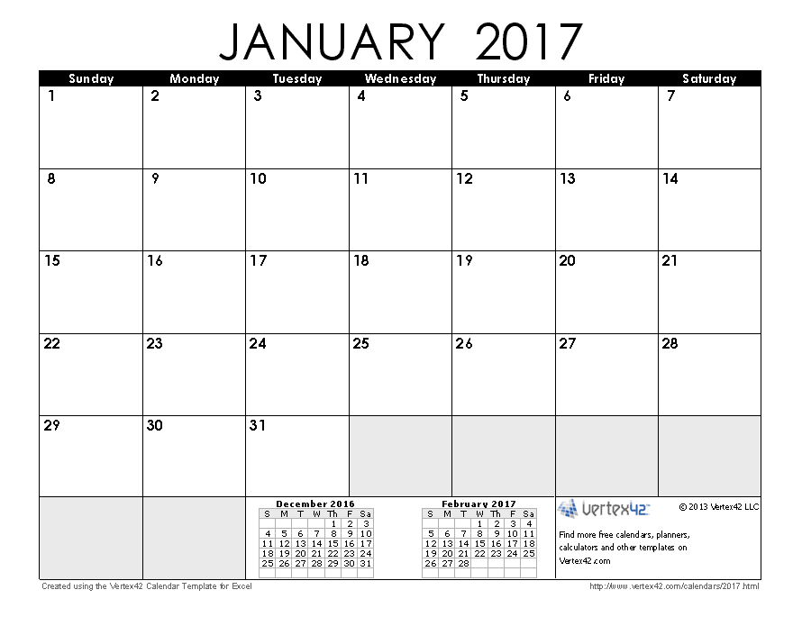 January 2017 Calendar With US
