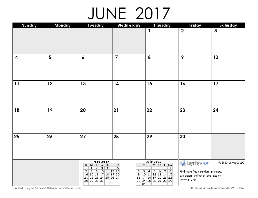 June 2017 Calendar Template Word