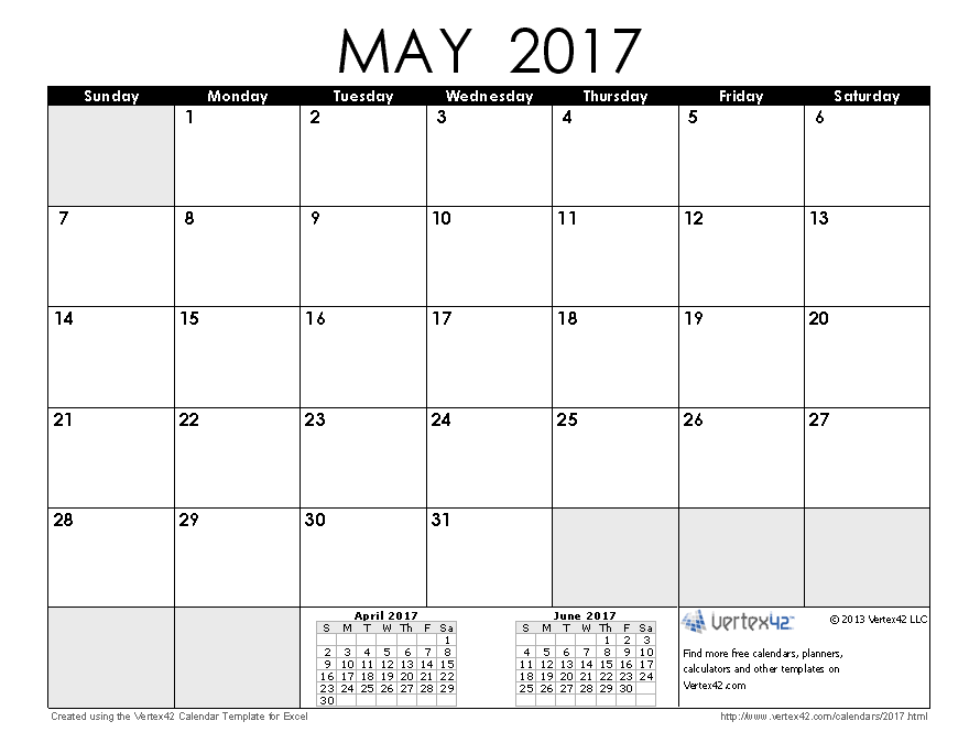 Printable Calendar May 2017 2017 calendar templates and images