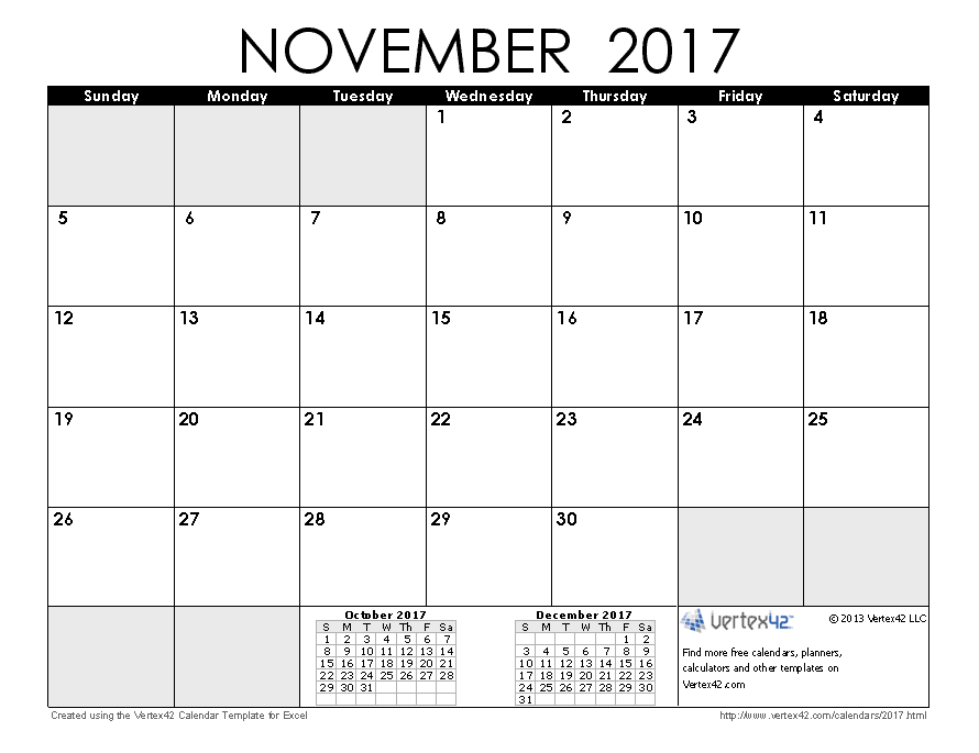 THIS Monthu0027s Calendar November 2017 Calendar Design