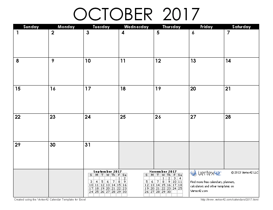October 2017 Calendar With US Holidays