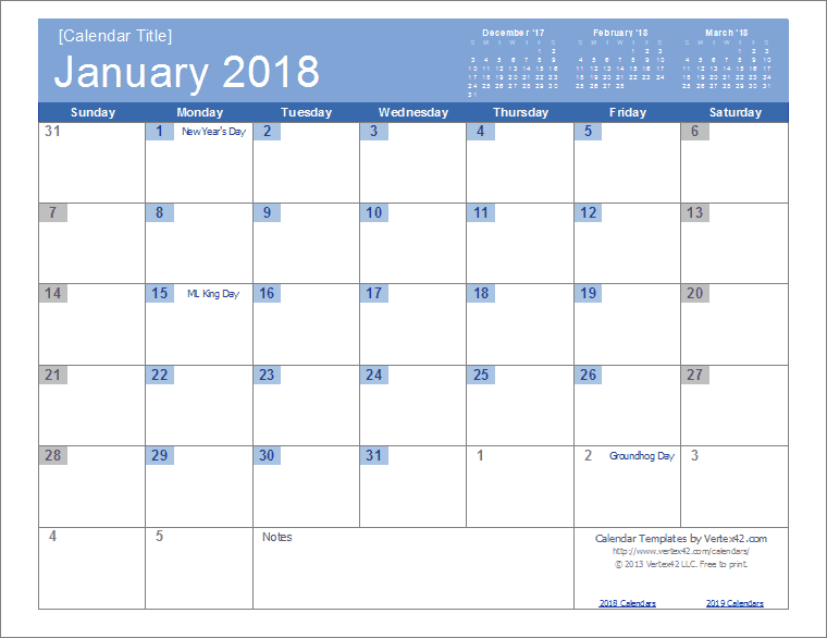 2018 monthly calendar template