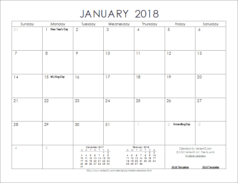 2018 calendar with holidays excel