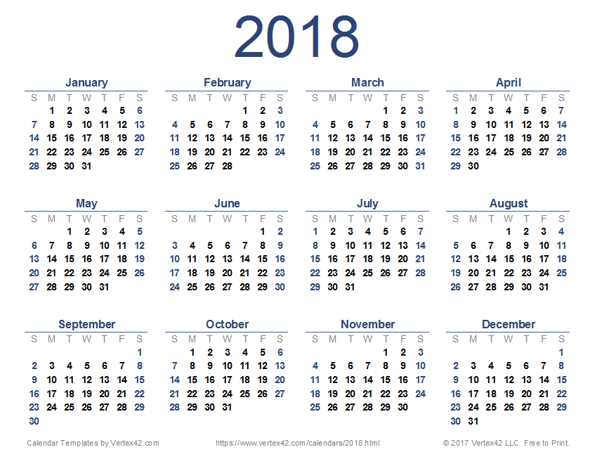 2018 calendar templates images and pdfs