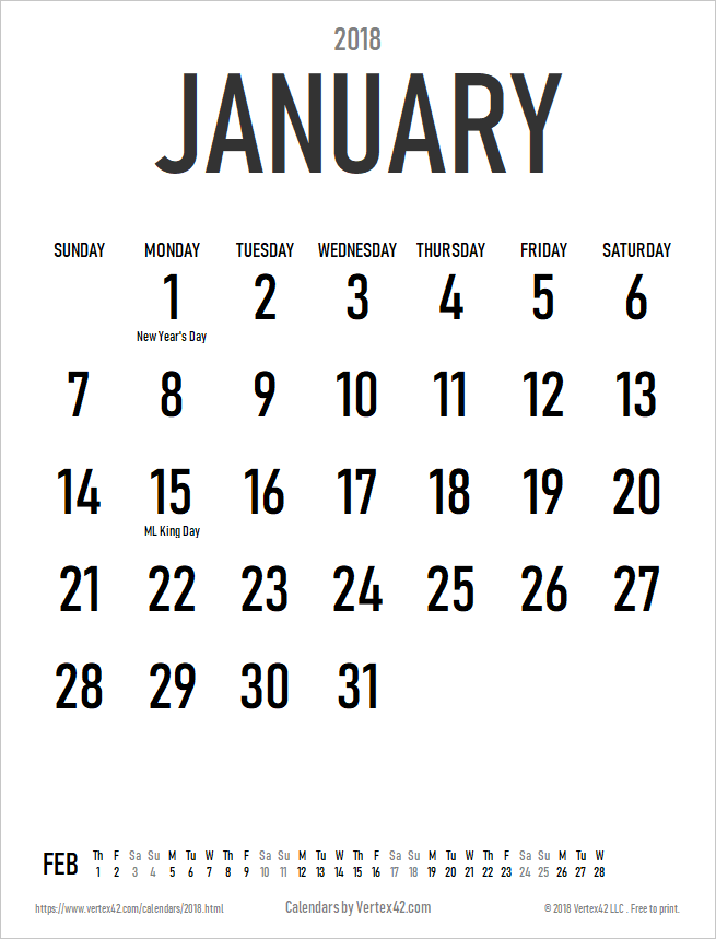large print monthly 2018 calendar in portrait orientation view larger image