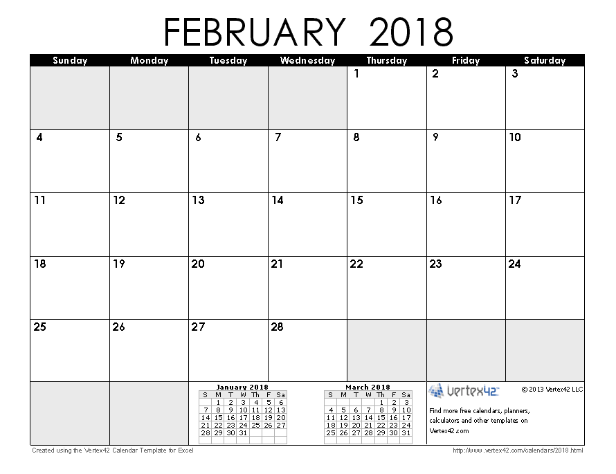 2018 calendar templates and images february 2018 calendar pronofoot35fo Images